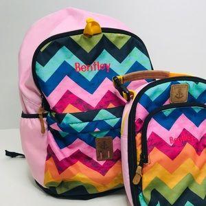 Lands End Pink Chevron Large Backpack